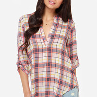 V-sionary Grey and Neon Coral Plaid Top