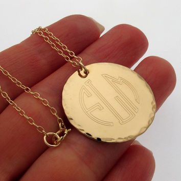 Gold Engraved Pendant / 3 Initial Monogram Necklace /  Personalized Jewelry