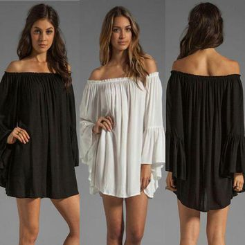 ICIK7XP Black Off-shoulder Ruffled Chiffon Long Sleeve Shift Mini Dress
