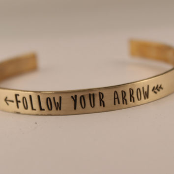 Follow Your Arrow - Cuff Bracelet - Your choice of pure aluminum, copper, brass or sterling silver