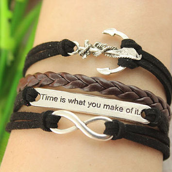 anchor charm infinity bracelet--time is what you make of it charm,black cord and brown braid leather bracelet