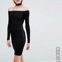 ASOS TALL Long Sleeve Off The Shoulder Bardot Mini Bodycon Dress With Choker Collar at asos.com