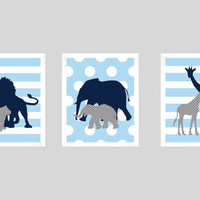 Safari Animals Navy Gray Blue Print, Boy Nursery, CUSTOMIZE YOUR COLORS, 8x10 Prints, set of 3, nursery decor nursery print art baby decor