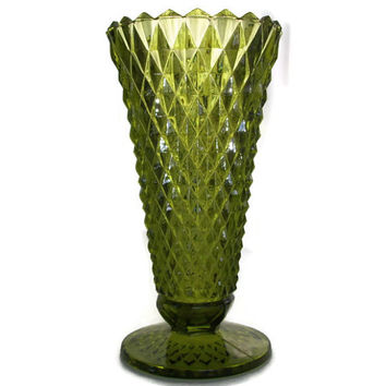 Vintage 50's Avocado Green Cut Glass Vase, Diamond Cut, Flared Top, Vintage Home Decor, Mid Century Decor