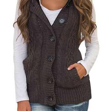Chic Women Brown Cable Knit Hooded Sweater Vest