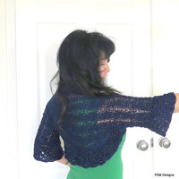 Blue sparkly shrug, sapphire blue knit sweater shrug, luxurious bolero shrug