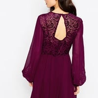 ASOS Velvet Burnout Bell Sleeve Skater Dress