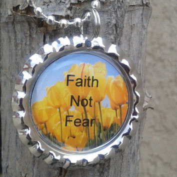 Bottle cap necklace,scripture necklace,handmade christian jewelry,Genesis 15:1,Faith Not Fear,christian jewelry