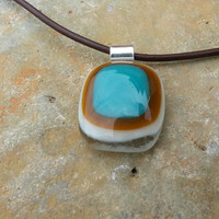 Fused Glass and Sterling Silver 'Retro' Square Blue / Brown / Pendant / Choice of Necklace by Silverbird Designs UK