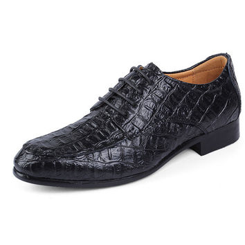 Big Size Men Leather Lace Up Pointed Toe Business Formal Oxfords Shoes