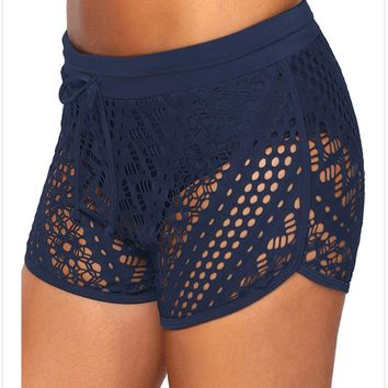 Lace swim trunks women's solid color sexy hollow and lined four-cornered bikini