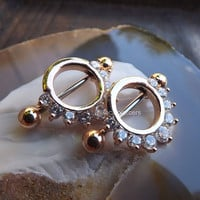 "Rose Gold 14g Nipple Piercing Ring Shield Barbell Rings Pair Body Jewelry Set Gemstones Nipples 3/8"" Piercings 3/4"" Bars 316L Stainless"