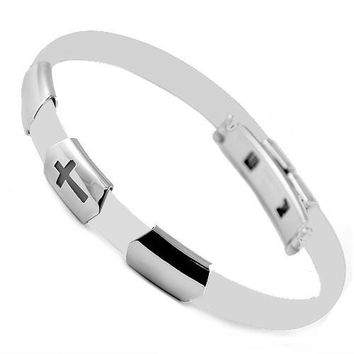 Stainless Steel And White Rubber Bracelet With Cross Cut Out Design