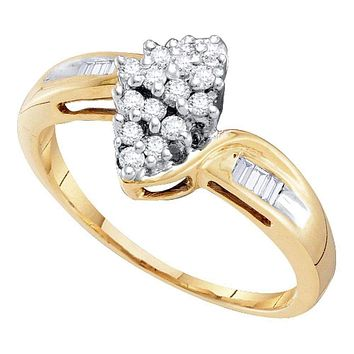 10kt Yellow Gold Womens Round Diamond Oval Cluster Baguette Ring 1/4 Cttw - FREE Shipping (US/CAN)