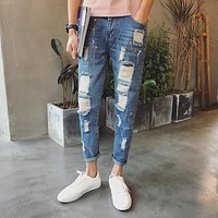 Jeans Men Patchwork Designer Brands High Quality Patched Jeans Ripped Men Rock Men Jeans Hip Hop Jeans Robins Denim Pants