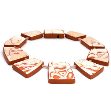 Apricot Statement Bib Collar Necklace Contemporary Art Jewelry Designers Fashion Large Peach Nude Beige Cream Blush Rusty Abstract Geometric