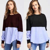 Women'S Fashion Striped Long-Sleeved Round Neck Sweater