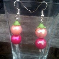 Pink Bead Dangle Earrings by By5Jewelry on Etsy