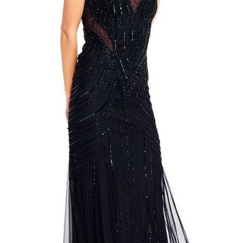 Adrianna Papell - AP1E201343 Illusion Cutout Back Beaded Mesh Gown
