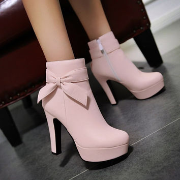 Hot Deal On Sale Winter Waterproof Butterfly High Heel Zippers Plus Size Boots [6366197316]
