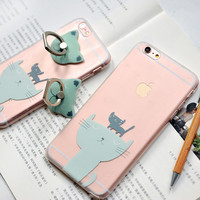 Cute Kitties Pattern Clear iPhone Cases Transparent TPU Phonecases iPhone 6 6S Plus [11208625935]