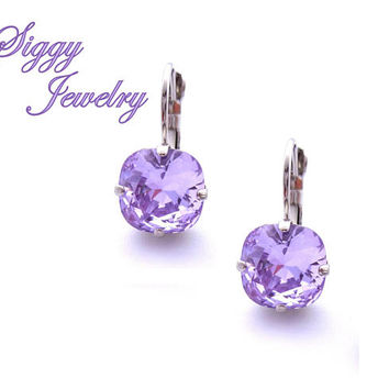 Swarovski Crystal Earrings,  Violet, Purple, 10mm Cushion Cut, Drops or Studs, Assorted Finishes, Bridesmaids Gift, Free Shipping