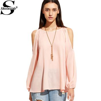 Cold Shoulder Blouses Pink Raglan Sleeve Casual Fashion Cute Basic Cut Out Blouse