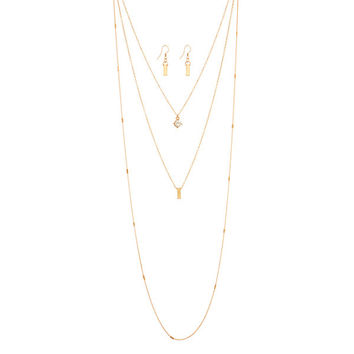 "Gold tone layering necklace set featuring a crystal clear rhinestone and metal bar. Approximately 18"" in length."
