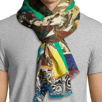 Swirl and Mixed-Print Scarf, Brown/Blue, Size: 30, BROWN/BLUE - Etro