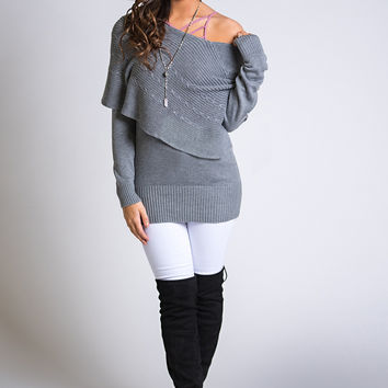 Now & Then Long Sleeve Layered Knit Cape Sweater (Heather Grey)
