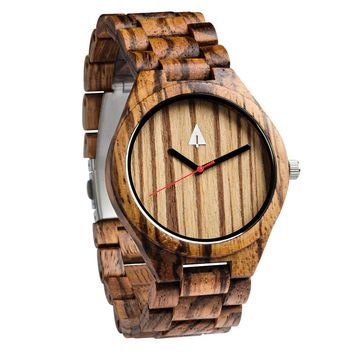All Wood Watch // All Zebrawood 47 Red