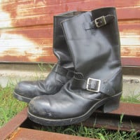 70s/80s Black Engineer Boots by Stadia / US 9 EUR 39-40 UK 7 // Vintage Biker Leather Boots w/ Steel Toe
