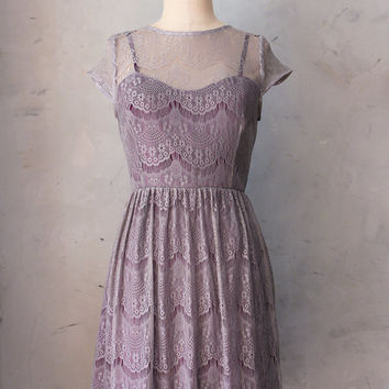 PIROUETTE GRAY -Truffle lace overlay dress / plum purple satin slip / cap sleeves / sweetheart / illusion neckline / bridesmaid / cocktail