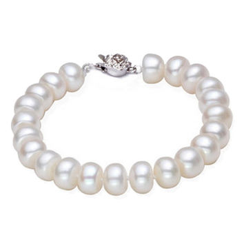 High luster 9-10mm natural big pearl charm bracelet for women top quality fashion bangle bracelet mother's day gift promotion