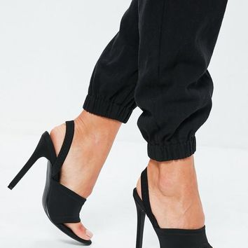 Missguided - Black Sporty Toe Post Sling Back Heels