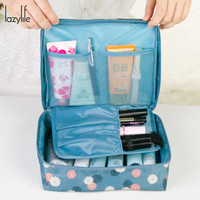 LAZYLIFE Large-capacity Portable Toiletry Cosmetic Bag Makeup Make Up Wash Organizer Storage Pouch Travel Kit Bag Hand