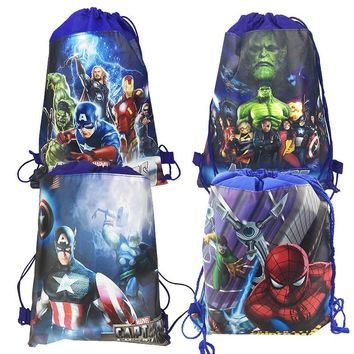 6pc/lot Cartoon bag Avengers drawstring school&travel&picnic backpack birthday Xmas gift/goodie bag event party supplies