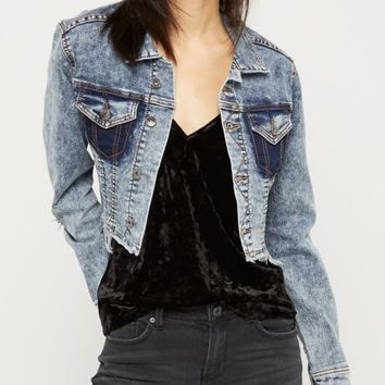 Frayed Acid Wash Jean Jacket