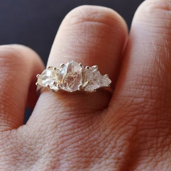 3 Stone Raw Diamond Handmade Engagement from Avello on Etsy