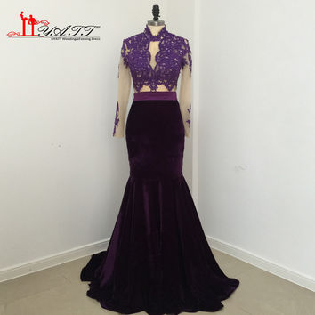African Real Photo 2017 Evening Dresses Grape Purple Velvet Cheap Long Sexy Mermaid See Through Lace Long Prom Women Gown LIYATT