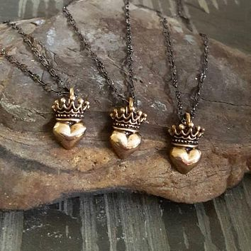 Gold Solid Bronze Heart Crown Pendant Oxidized Sterling Chain Necklace