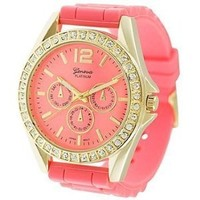 Geneva Platinum 7846 Women's Decorative Chronograph Rhinestone-accented Silicone Watch-CORAL/GLD: Watches: Amazon.com