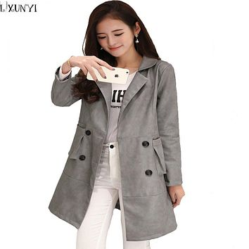 4XL 5XL 6XL Spring Autumn leather Trench jacket Double Breasted Overcoat Thin Leather Coat Female chaquetas de cuero mujer