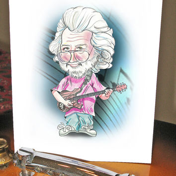 Jerry Garcia, Greeting Card, Grateful Dead, Celebrity, Art, Funny, Caricature, Birthday, Rock Star