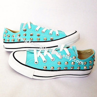 Etsy Transaction -          STUDDED CONVERSE SALE Tiffany Blue Studded Shoes Sale Custom Shoes All Star Chuck Mint Aqua Sky Blue