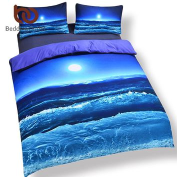 Cool BeddingOutlet Moon And Ocean Duvet Cover Set Bed Spread Cool 3D Print Bedlinen Soft Blue Bedding Set 3pcs Twin Full Queen KingAT_93_12
