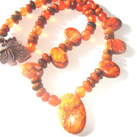 Orange Sea Sediment Jasper Beaded Necklace Women Fashion Jewelry