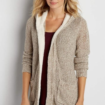 thick knit cardigan with faux sherpa lined hood and trim | maurices