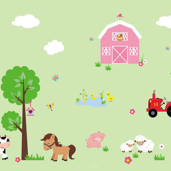 "Farm Nursery Wall Decals, Country Barn Wall Decals, Kids Room Farm Animal Decals, Farm Theme Wall Stickers, Sheep Horse Decals - 95"" x 140"""