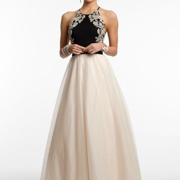 Jersey and Tulle Dress with Open Back